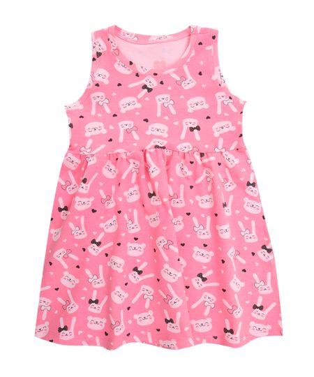 Vestido Estampado de Gatinhos Rosa