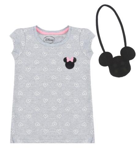 Blusa Minnie + Bolsa Cinza Mescla