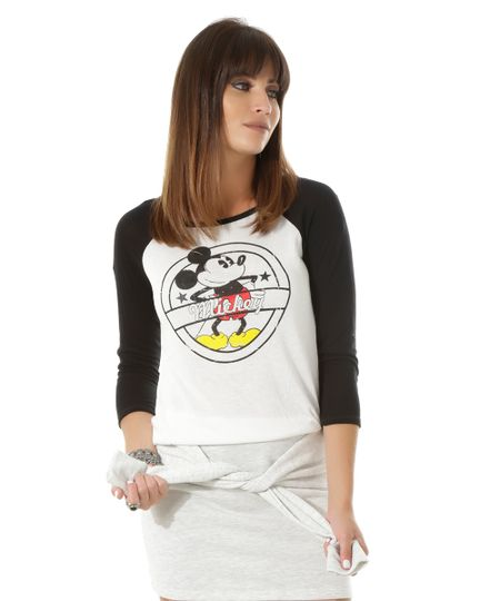 Blusa Mickey Off White
