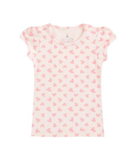 Blusa Estampada de Corações Rosa Claro