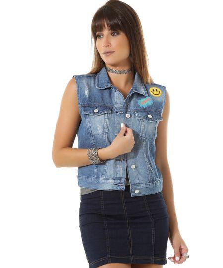 Colete Jeans com Patchs Azul Médio