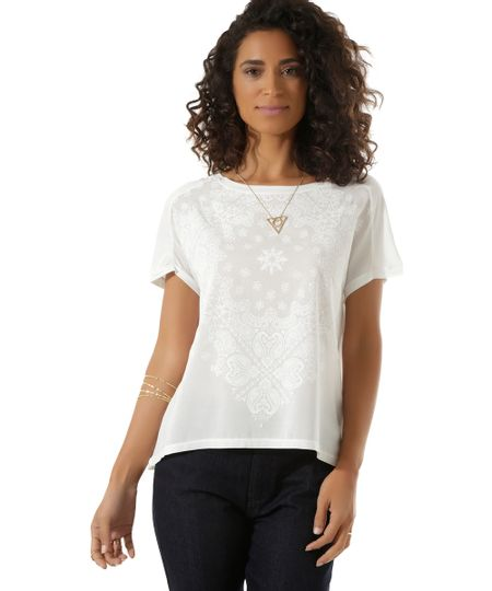 Blusa com Estampa Étnica Off White