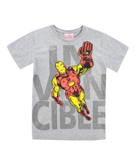 Camiseta Homem de Ferro Cinza Mescla