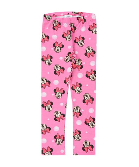 Calça Legging Estampada Minnie Rosa