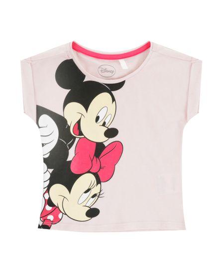 Blusa Mickey e Minnie Rosa Claro