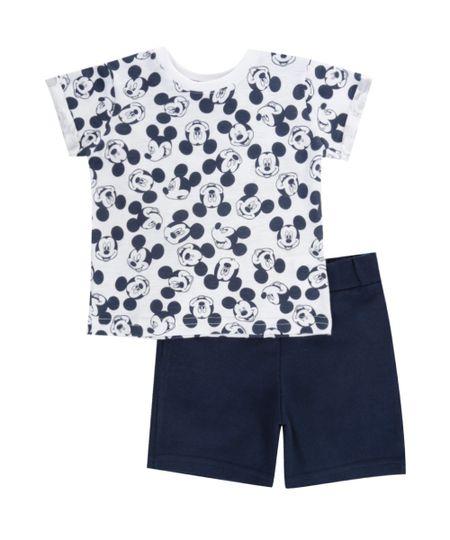 Conjunto de Camiseta Branca + Bermuda Mickey Azul Marinho