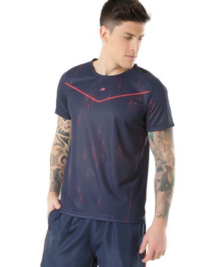 Camiseta de Corrida Ace Estampada Azul Marinho