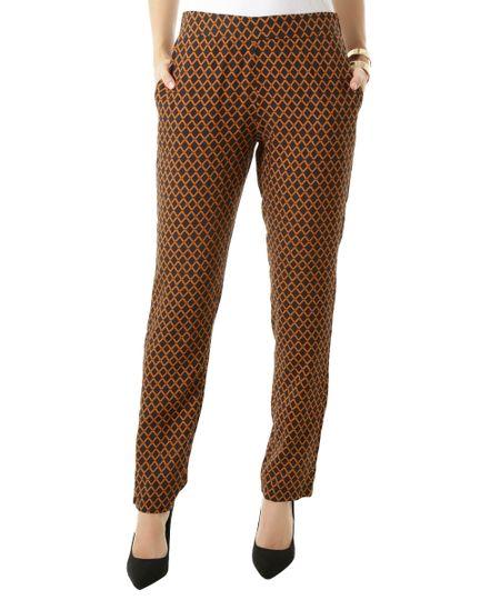 Calça Pijama Estampada Geométrica Preta