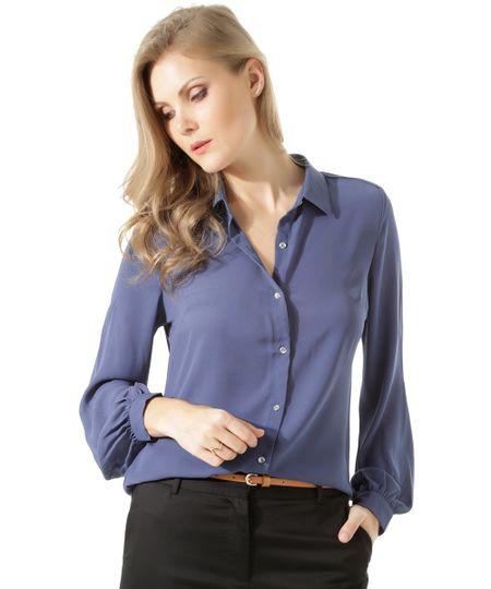 Camisa Com Botão de Brilho Azul