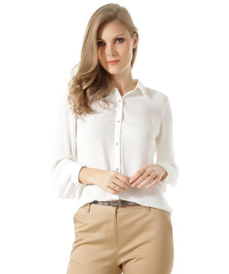 Camisa Com Botão de Brilho Branca