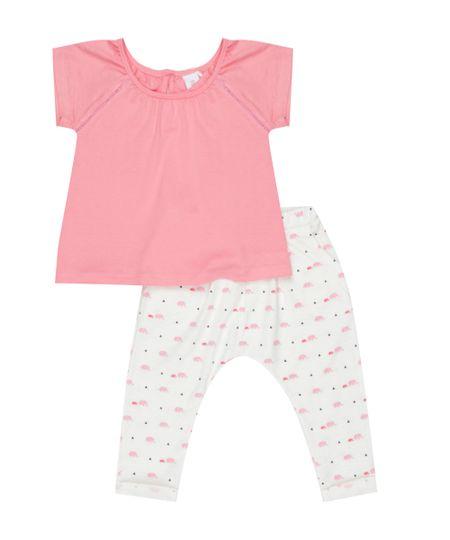 Conjunto de Blusa Rosa + Calça Legging Estampada Off White