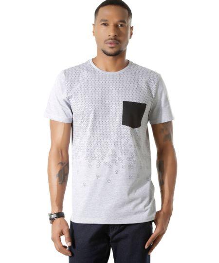 Camiseta com Estampa Geométrica Cinza Mescla
