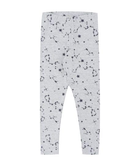 Calça Legging Estampada de Constelação Cinza Mescla