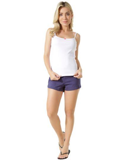 Short Doll Estampado de Poás Branco