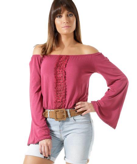 Blusa Cropped com Guipir Pink