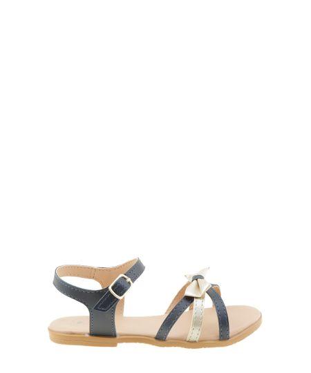 Sandália com Laço Azul Marinho