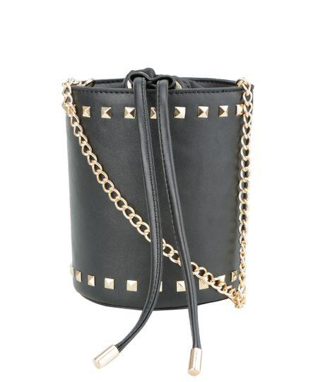 Bolsa Saco com Tachas Preta