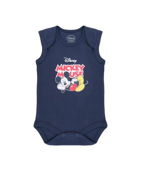 Body Mickey em Algodão + Sustentável Azul Marinho