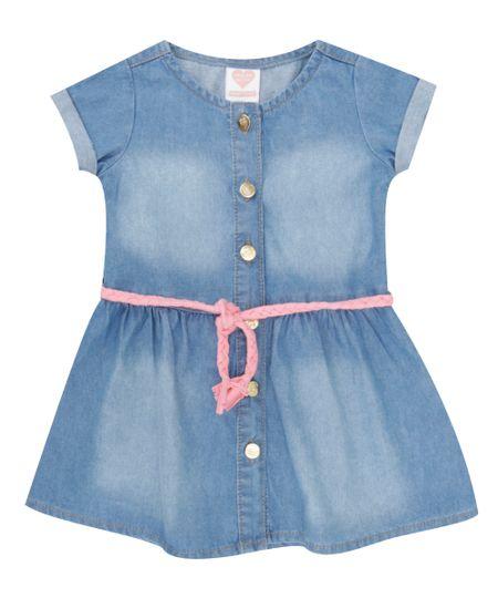Vestido Jeans com Cinto Azul Médio