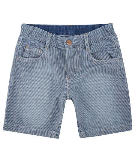 Bermuda Jeans Slim Listrada Azul Escuro
