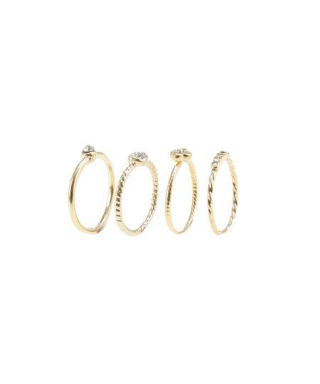Kit de 4 Anéis com Strass Dourado