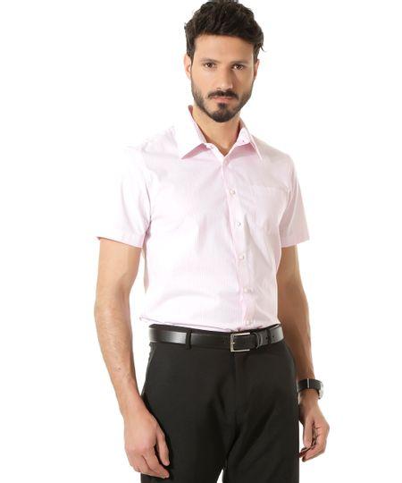 Camisa Social Comfort Listrada Rosa
