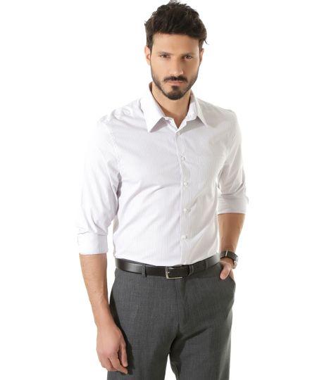 Camisa Social Comfort Listrada Branca