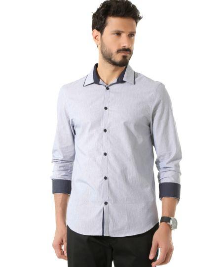 Camisa Social Slim Listrada Azul Marinho