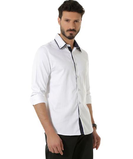 Camisa Social Slim Texturizada Branca