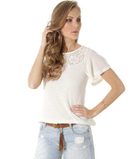 Blusa Canelada com Renda Off White