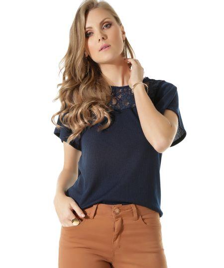 Blusa Canelada com Renda Azul Marinho