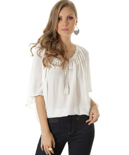 Blusa Ampla com Renda Off White