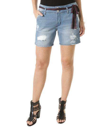 Short Jeans Comfort com Faixa Azul Médio