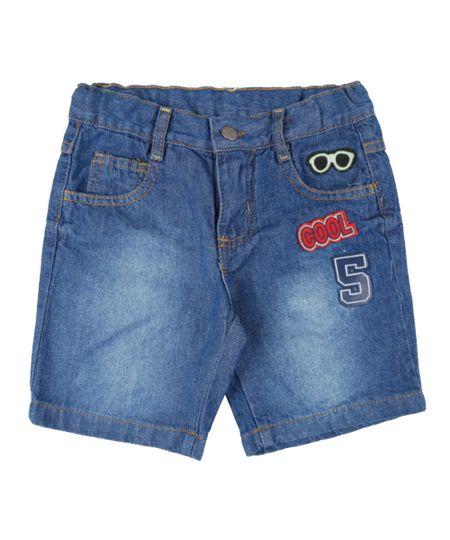 Bermuda Jeans com Patchs Azul Médio