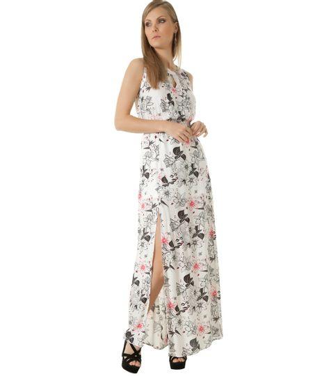 Vestido Longo Estampado Floral Off White