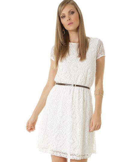Vestido em Renda com Cinto Off White
