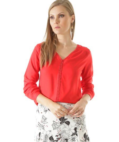 Blusa com Entremeio Vermelha