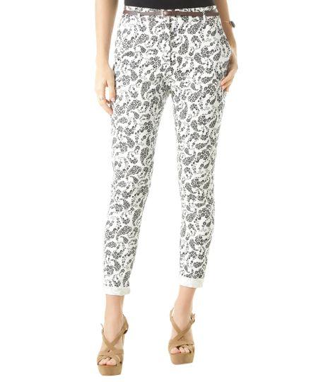Calça Skinny Estampada Floral com Cinto Branca