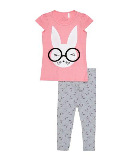Conjunto de Blusa Rosa + Calça Legging Cinza Mescla
