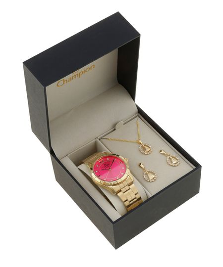 Kit de Relógio Champion Analógico Feminino + Colar + Brinco - CN29918M -  Dourado