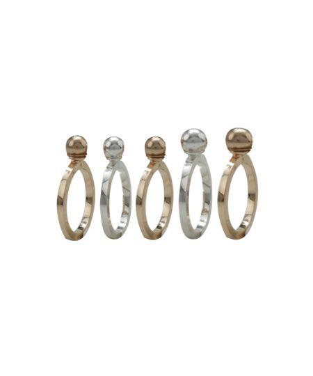 Kit de 5 Anéis Dourado