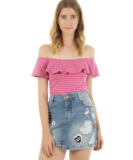 Blusa Ombro a Ombro Cropped Listrada Rosa