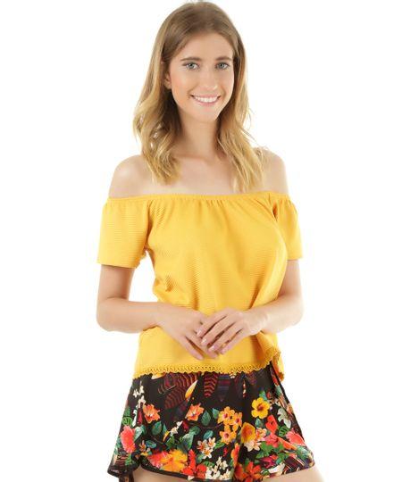 Blusa Ombro a Ombro com Renda Amarela