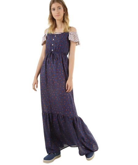 Vestido Longo Estampado Azul Marinho