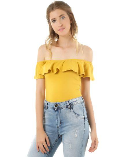Blusa Ombro a Ombro Cropped Amarela