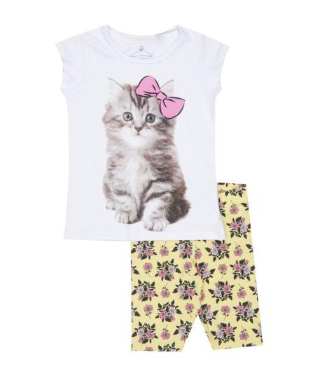 Conjunto de Blusa Branca + Calça Legging Amarela