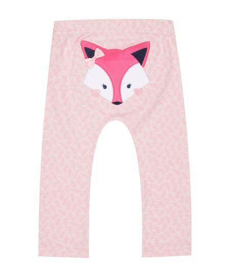 Calça Estampada Raposa em Algodão + Sustentável Rosa Claro