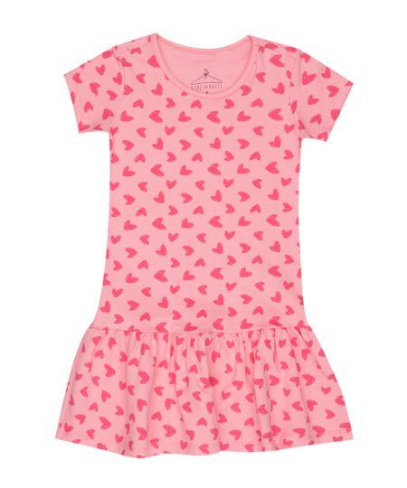 Vestido Estampado de Corações Rosa