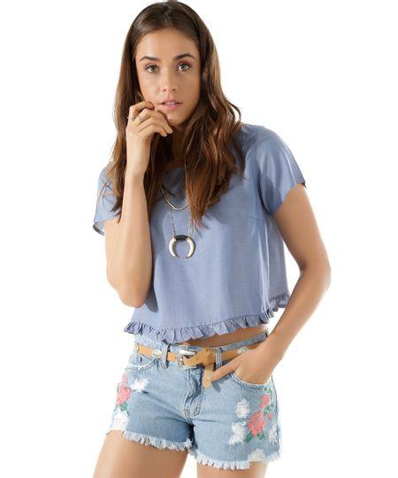 Blusa Cropped em Jeans Azul Médio