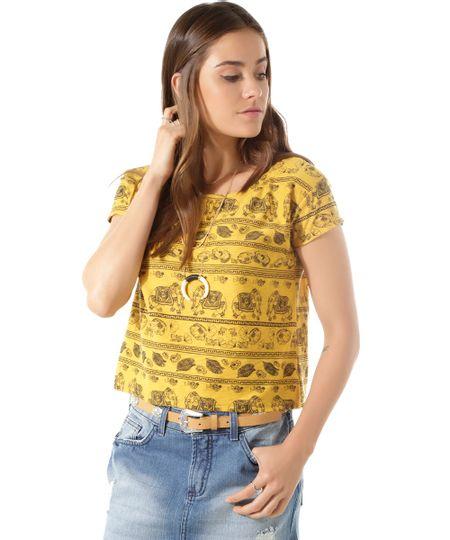 Blusa Estampada com Elefantes Amarela